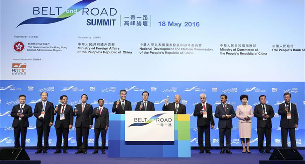 HONG KONG, May 18, 2016 (Xinhua) -- Zhang Dejiang (C), chairman of the Standing Committee of China's National People's Congress, attends the opening ceremony of the Belt and Road Summit sponsored by the government of Hong Kong Special Administrative Region (SAR), in Hong Kong, south China, May 18, 2016. (Xinhua/Pang Xinglei)